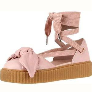 Fenty Puma Sandals 8.5  Pink Leather Bow Creepers